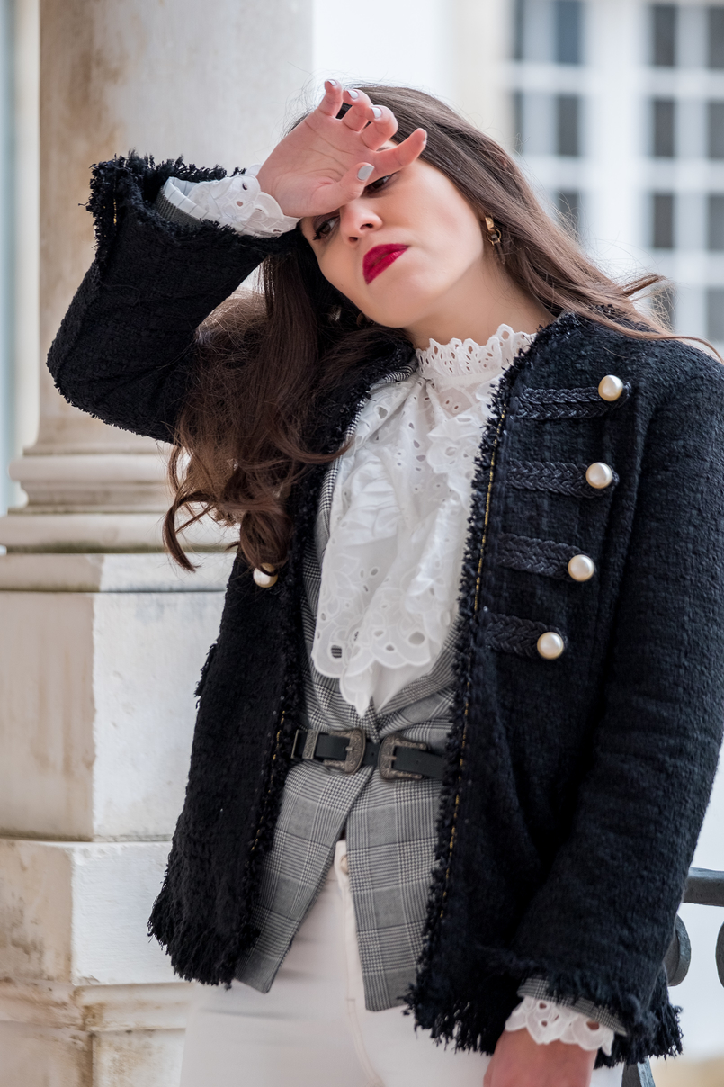 Le Fashionaire The ankle boots you'll see me wearing nonstop until spring tweed black white pearls zara jacket double buckle silver black stradivarius belt white english swiss embroidered shein shirt 9799 EN 805x1208