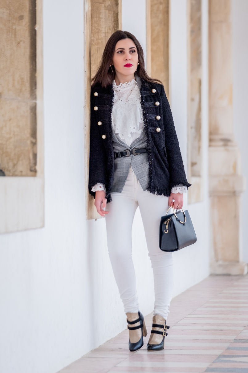 Le Fashionaire The ankle boots you'll see me wearing nonstop until spring tweed black white pearls zara jacket double buckle silver black stradivarius belt white english swiss embroidered shein shirt gold hoop black zara bag 9772 EN 805x1208