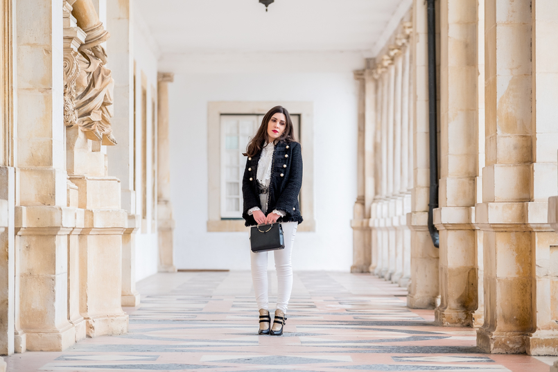 Le Fashionaire The ankle boots you'll see me wearing nonstop until spring tweed black white pearls zara jacket gold hoop black zara bag Gold black all leather portuguese shoes dario madeira ankle boots 9805 EN 805x537