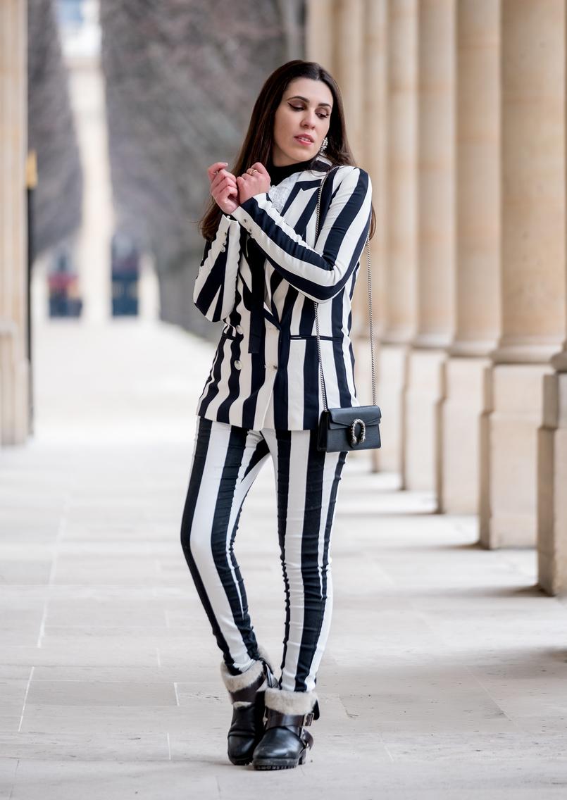 Le Fashionaire Paris, às riscas blazer preto branco riscas botoes hm calcas riscas preto branco hm mala carteira preta gucci dionysus tigre prateado botas pretas forradas perlo zara 2368 PT 805x1136