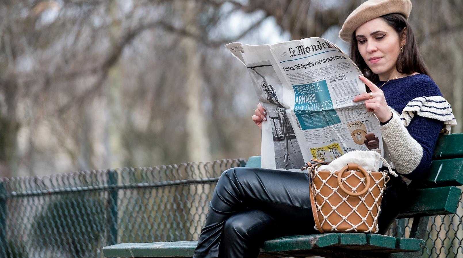 Le Fashionaire Ir a Paris sem uma boina nem é ir a Paris! camisola azul escuro branco riscas folhos mango calcas tipo pele cintura alta shein boina bege asos mala castanha rede branca mango 3655F PT