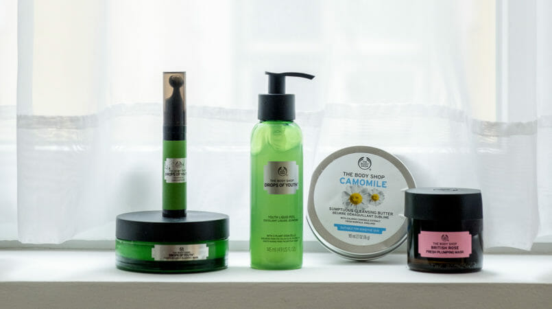 Le Fashionaire My top 5 The Body Shop products camomile cleansing butter green drops of youth scrub night mask drops of youth the body shop eyes roll on drops of youth 4739F EN 805x450