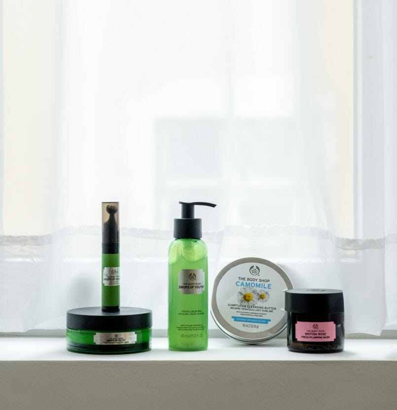 Le Fashionaire My top 5 The Body Shop products camomile cleansing butter night mask drops of youth the body shop eyes roll on drops of youth british rose plumping mask 4739 EN 805x833