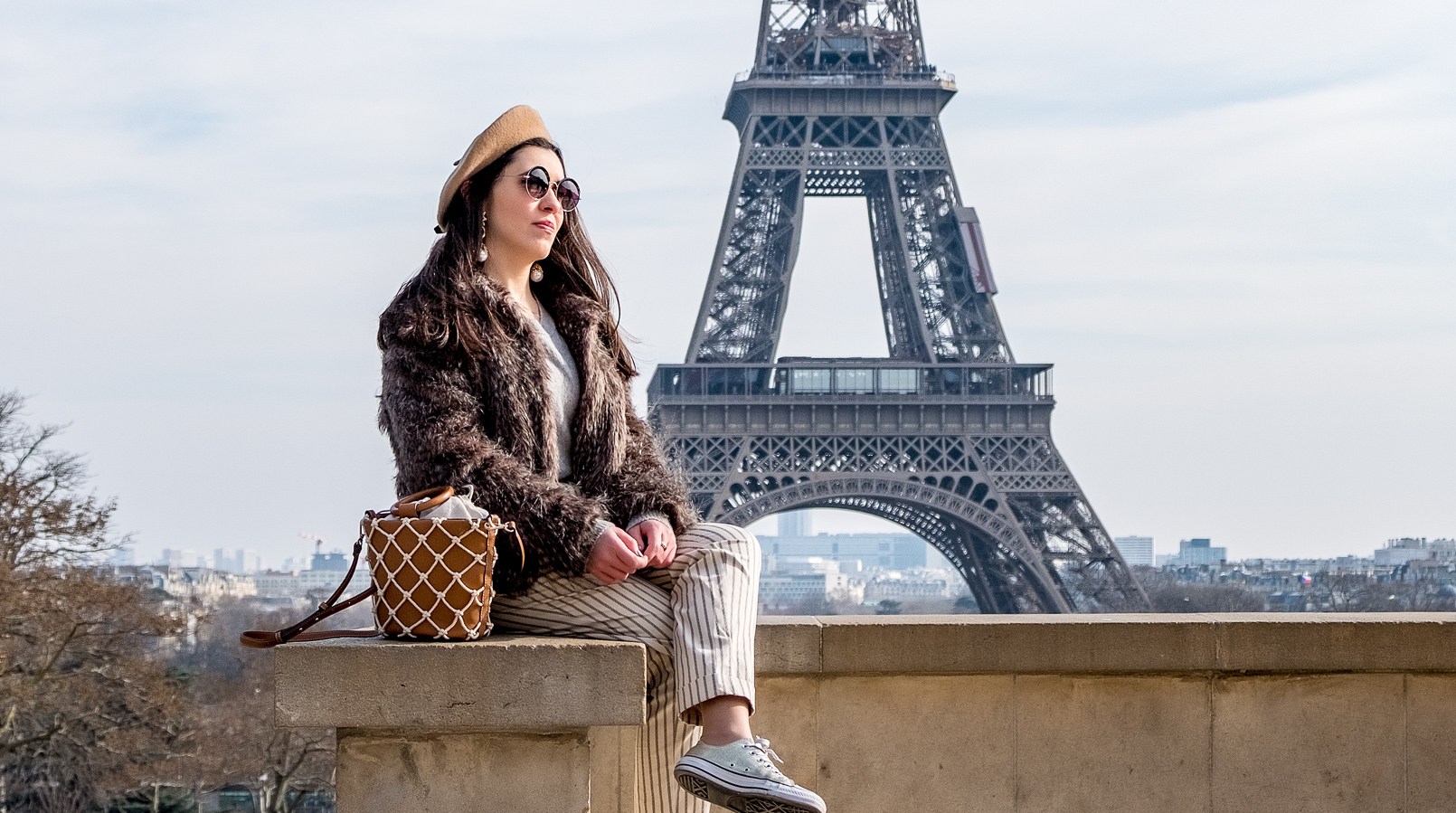 Le Fashionaire Is it worth it going to the Eiffel Tower? eiffel tower paris camel beret asos faux fur brown coat vintage brown mango mesh vase style bag round mango sunglasses 2520F EN