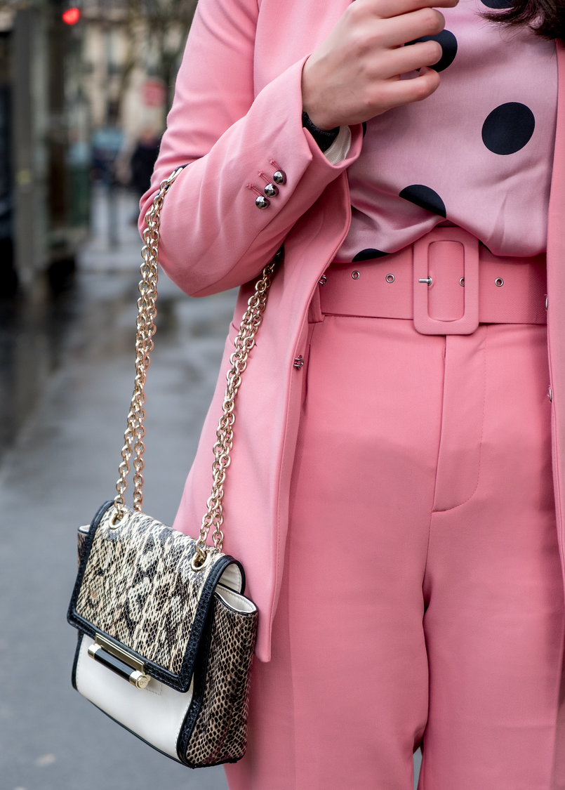 Le Fashionaire How is it like to be at Paris Fashion Week? pink zara blazer pink zara belted trousers suit pink black polka dots zara blouse white black snake print gold chain diane von furstenberg bag 4017 EN 805x1125