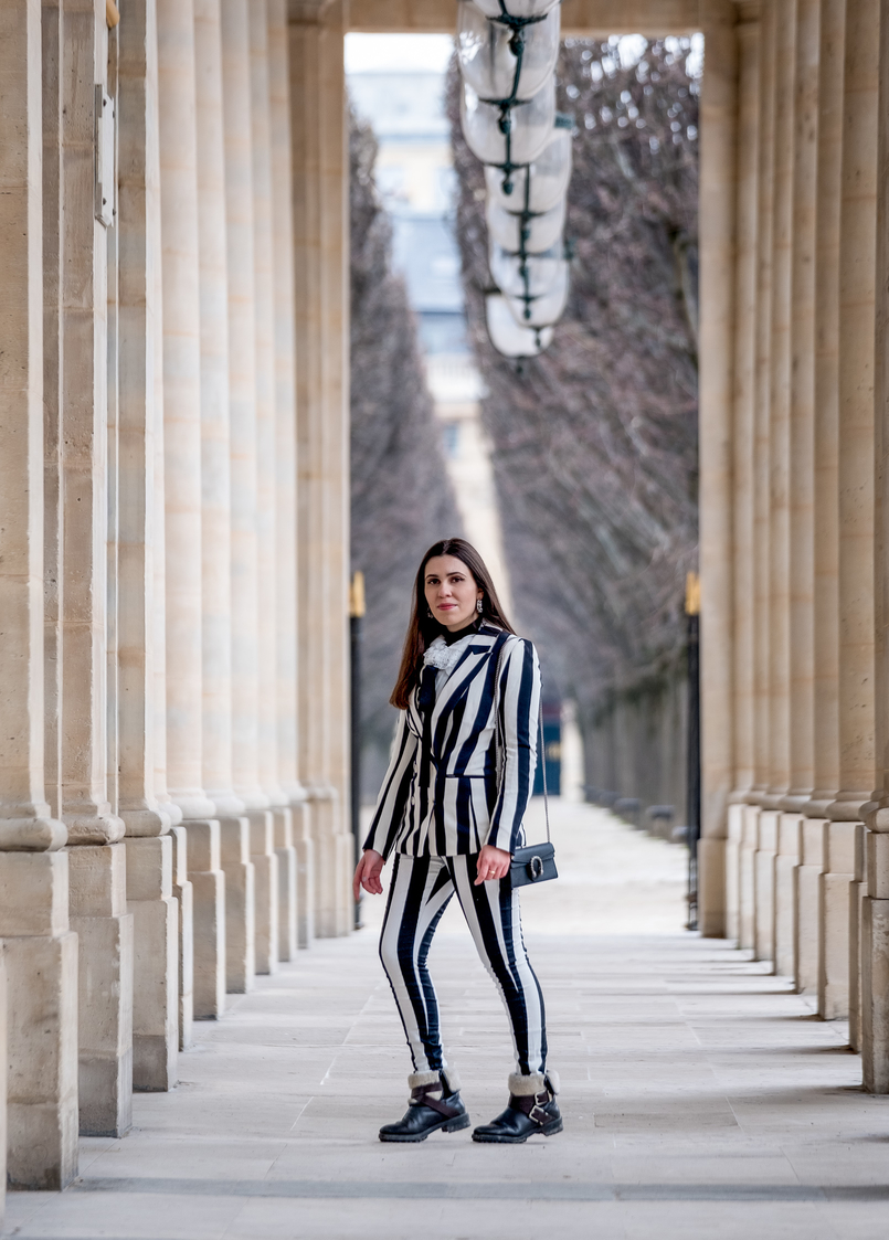Le Fashionaire Stripes in Paris stripes black white hm blazer black white vertical stripes hm trousers gucci mini dionysus black silver tiger bag black zara boots 2342 EN 805x1123
