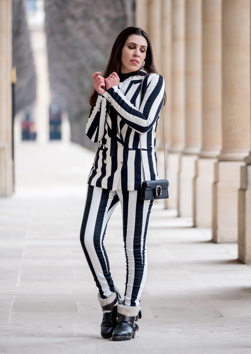 Le Fashionaire Stripes in Paris stripes black white hm blazer black white vertical stripes hm trousers gucci mini dionysus black silver tiger bag black zara boots 2368 EN 805x1136