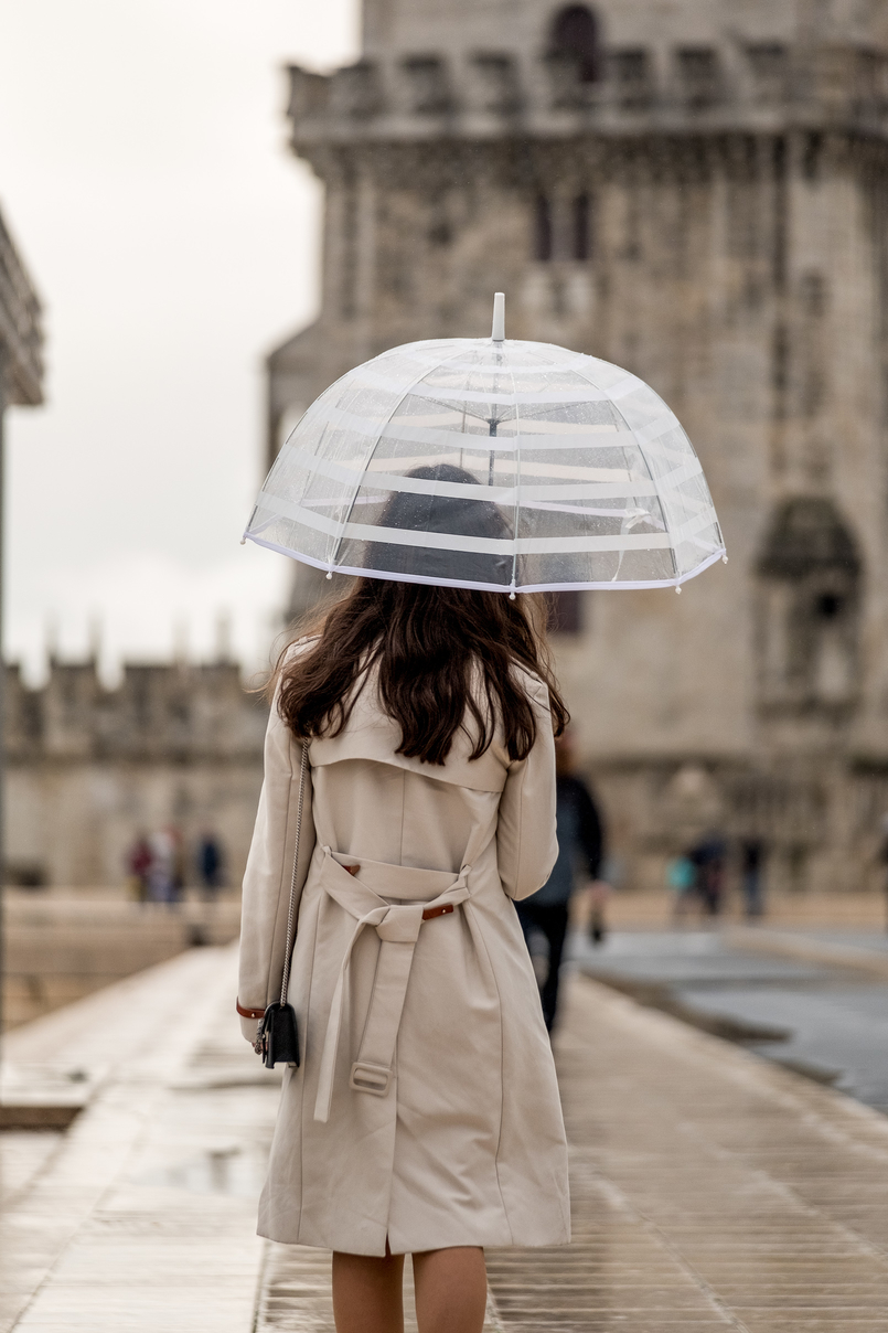 Le Fashionaire É importante quebrar a rotina? trench coat bege mango chapeu chuva transparente hm 4858 PT 805x1208