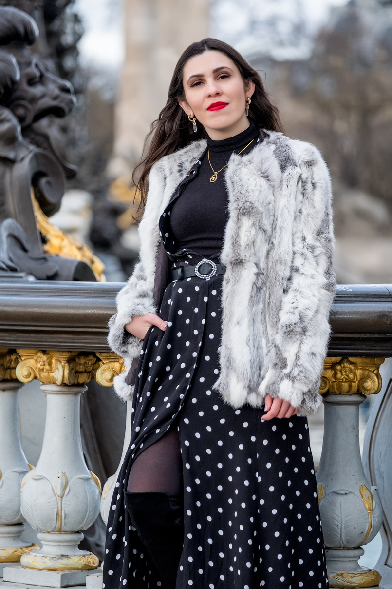 Le Fashionaire The most instagrammable bridge in Paris white grey fur sfera coat polka dots black white maxi zara dress gold bird cinco necklace zara black belt quartz gold mango earrings 3277 EN 805x1208