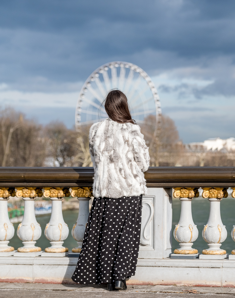 Le Fashionaire The most instagrammable bridge in Paris white grey fur sfera coat polka dots black white maxi zara dress turtle neck black zara knit 3331 EN 805x1020