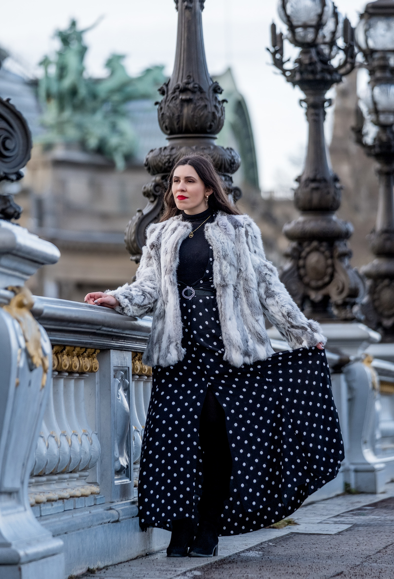 Le Fashionaire The most instagrammable bridge in Paris white grey fur sfera coat polka dots black white maxi zara dress turtle neck black zara knit zara black belt 3194 EN 805x1182