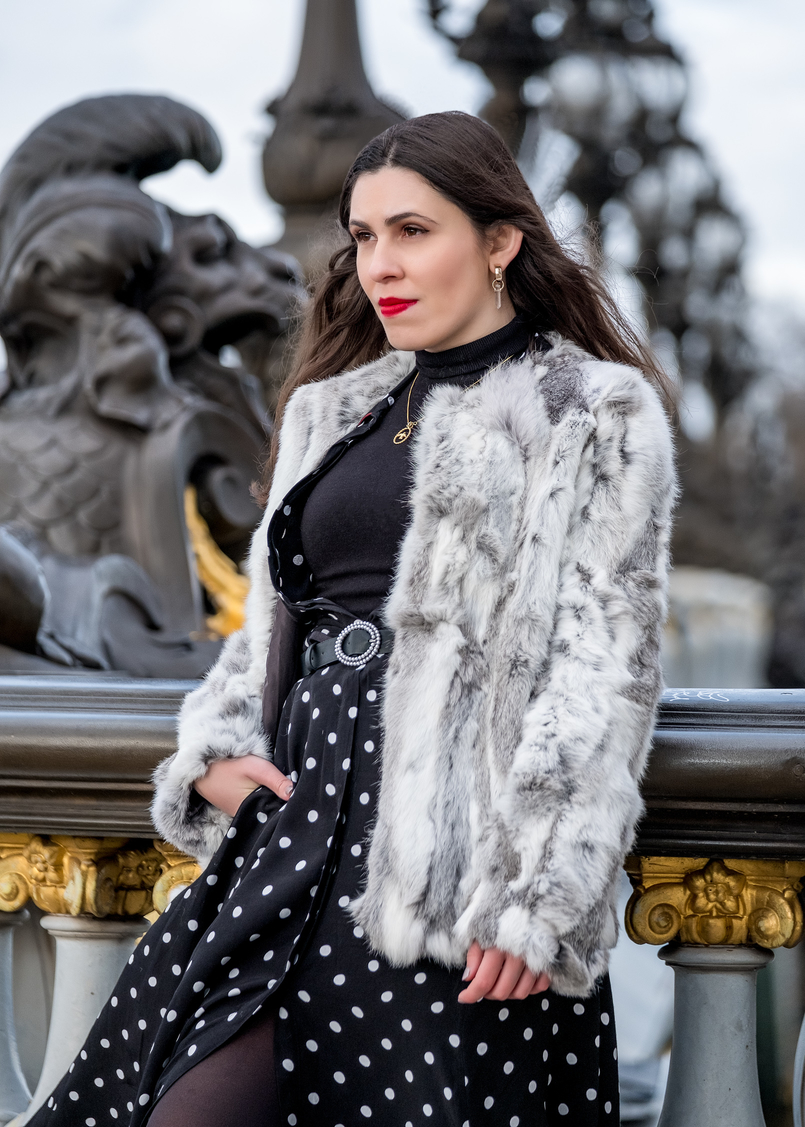 Le Fashionaire The most instagrammable bridge in Paris white grey fur sfera coat turtle neck black zara knit gold bird cinco necklace zara black belt quartz gold mango earrings 3303 EN 805x1127