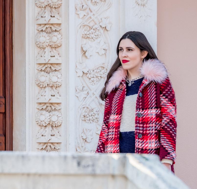 Le Fashionaire Mid   season sales are for buying coats wool red faux fur pale pink neck zara plaid coat dark blue white stripes mango cotton sweater 1736 EN 805x774