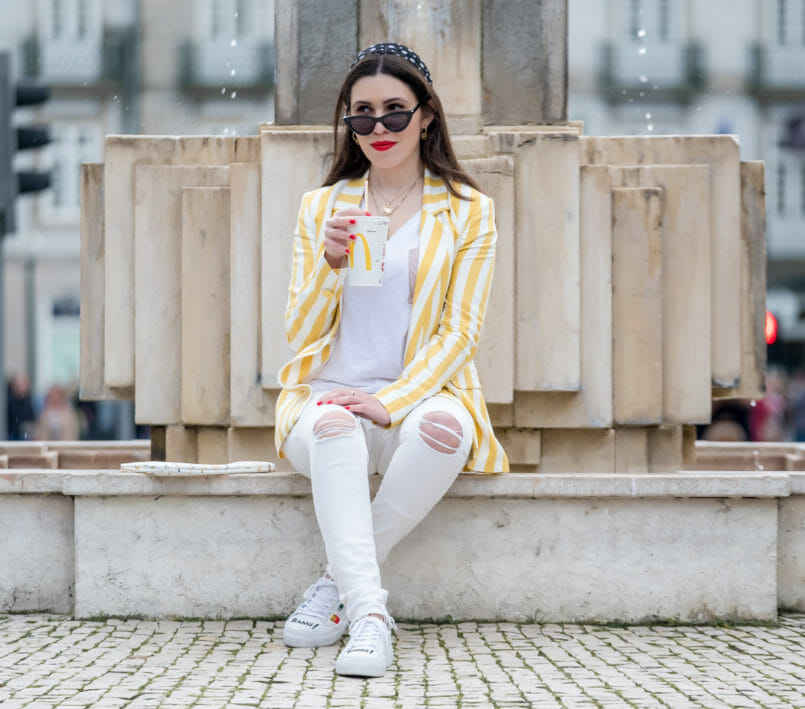 Le Fashionaire This is the blazer youll need this spring blazer white yellow stripes bershka white tee cotton zara white sneakers embroidered emojis bang bang bershka sunglasses black cat eye mango 6419 EN 805x709