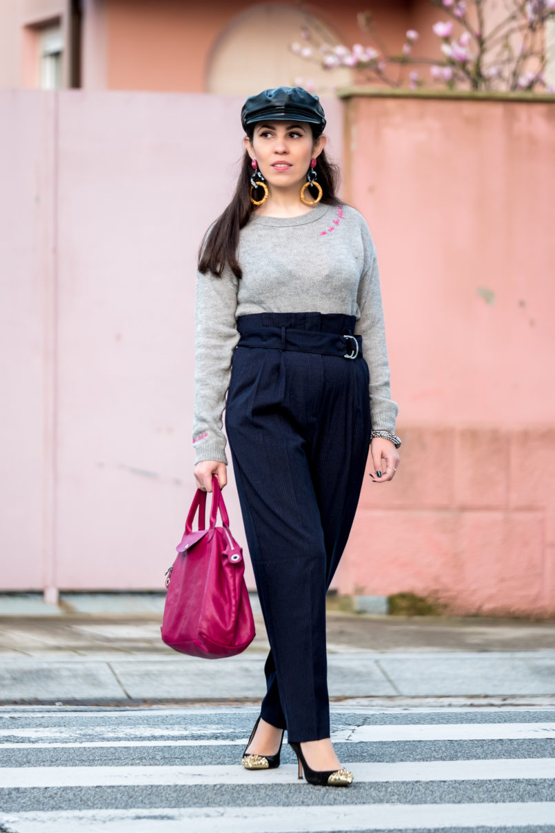 Le Fashionaire One year after my hip surgery grey knit wool jumper pink embroidered we are future topshop high waist pinstripes mango trousers black leather zara beret 7119 EN 805x1208