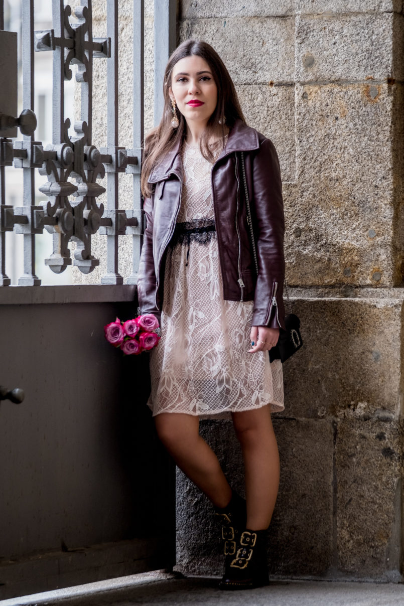 Le Fashionaire Being famous on internet is truly being famous? lace nude beige black belt zara delicate dress motard burgundy brown mango leather jacket 7142 EN 805x1208