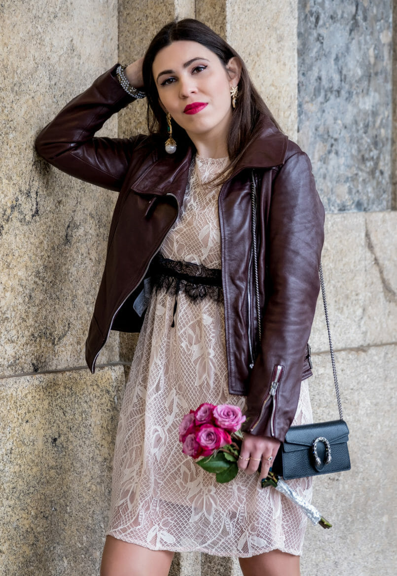 Le Fashionaire Being famous on internet is truly being famous? lace nude beige black belt zara delicate dress motard burgundy brown mango leather jacket bold gold earrings pearl green stone mango 7194 EN 805x1168