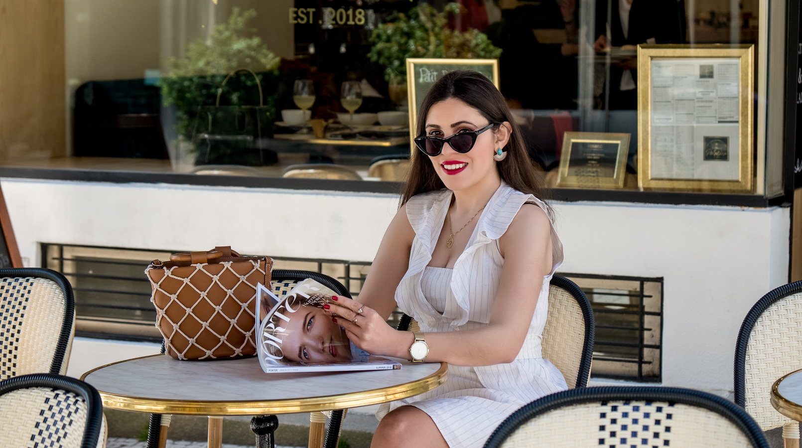 Le Fashionaire New spot in town: Brunch Parisien le brunch parisien gold rosefield watches watch brown mesh beige mango bag porter salad cheese tartine linen beige brown stripes bynv girly dress 8461F EN