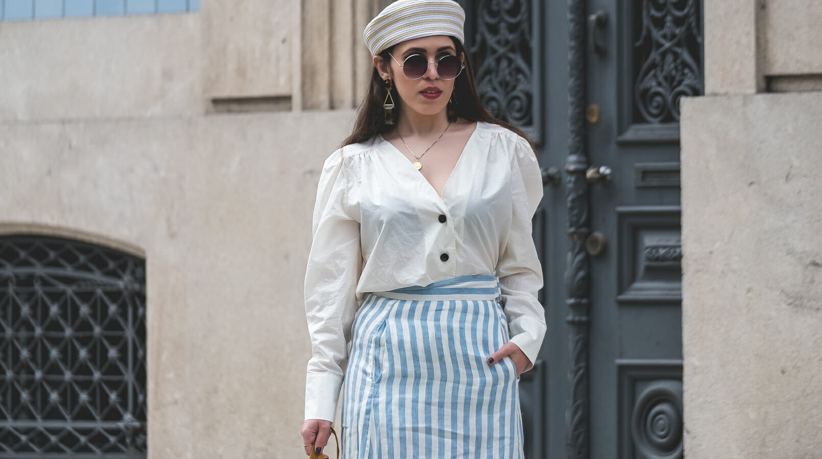 Le Fashionaire Do people judge you by what you wear? white front buttons hm shirt round mango sunglasses brown tortoise bold mango earrings pillbox beige white mango hat gold cinco worldmap necklace 7499F EN