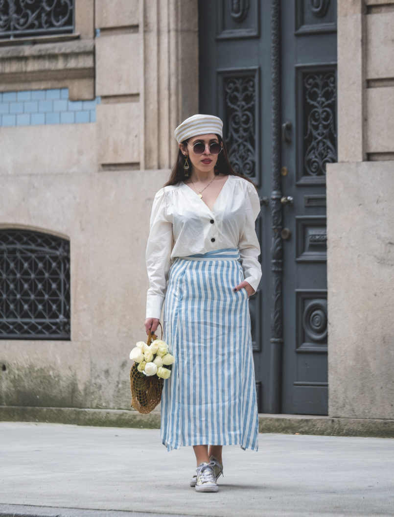 Le Fashionaire Do people judge you by what you wear? white front buttons hm shirt white long stripes pale blue linen skirt gold all stars converse sneakers mesh yellow bag la petite sardine 7499 EN 805x1056