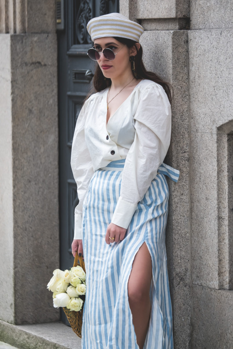 Le Fashionaire Do people judge you by what you wear? white front buttons hm shirt white long stripes pale blue linen skirt pillbox beige white mango hat mesh yellow bag la petite sardine 7506 EN 805x1208