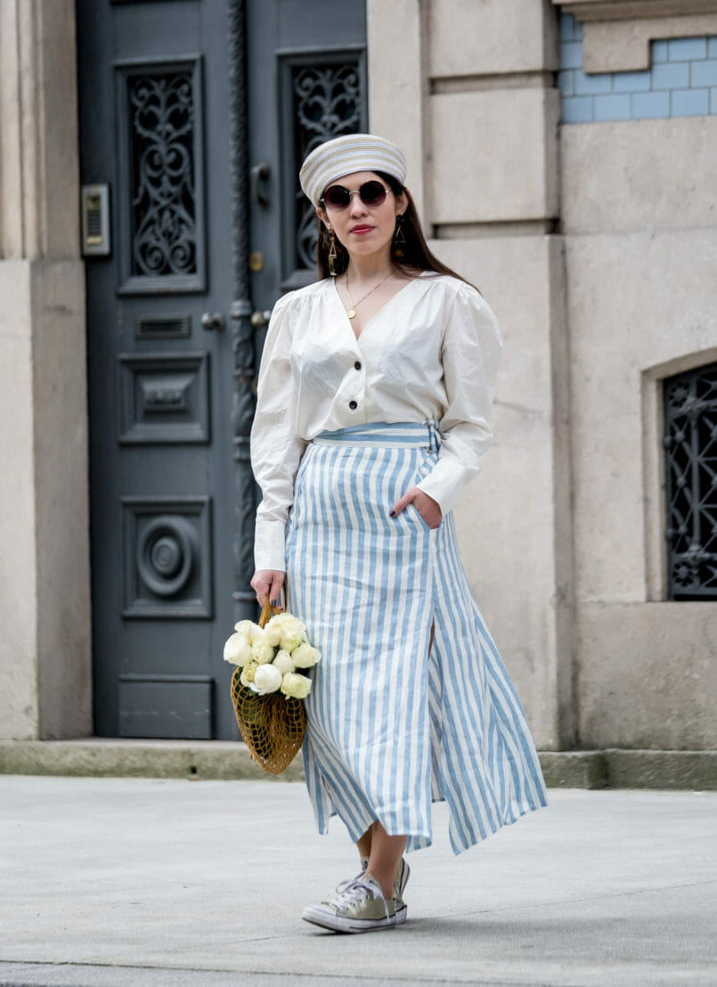 Le Fashionaire Do people judge you by what you wear? white front buttons hm shirt white long stripes pale blue linen skirt round mango sunglasses pillbox beige white mango hat 7491 EN 805x1108