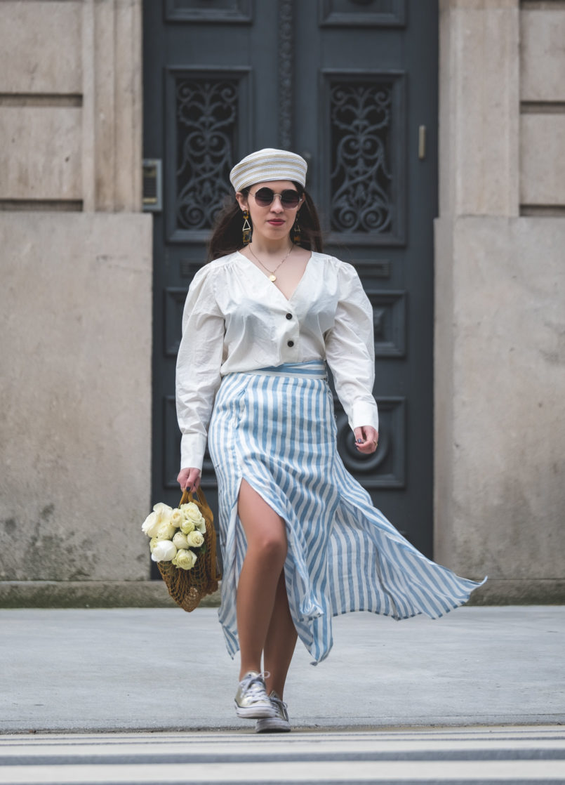 Le Fashionaire Do people judge you by what you wear? white front buttons hm shirt white long stripes pale blue linen skirt round mango sunglasses pillbox beige white mango hat 7539 EN 805x1118