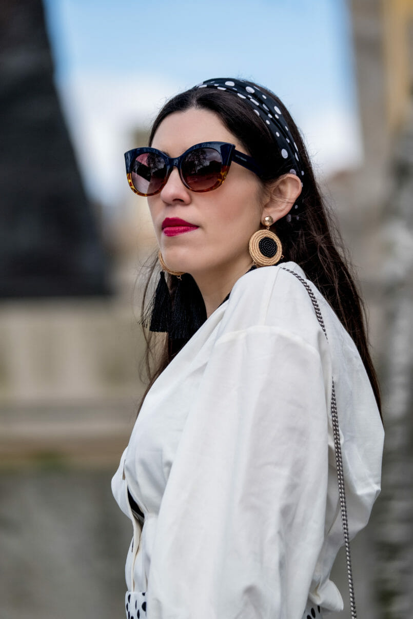 Le Fashionaire Where to shop for cool and cheap sunglasses white zara front buttons bow sleeves shirt dark blue tortoise messyweekend cheap sunglasses cateye tassels bold straw black mango beige earrings 7307 EN 805x1208