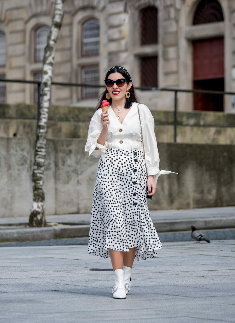 Le Fashionaire Where to shop for cool and cheap sunglasses white zara front buttons bow sleeves shirt polka dots front buttons zara skirt cowboy white stradivarius boots crystals 7214 EN 805x1102