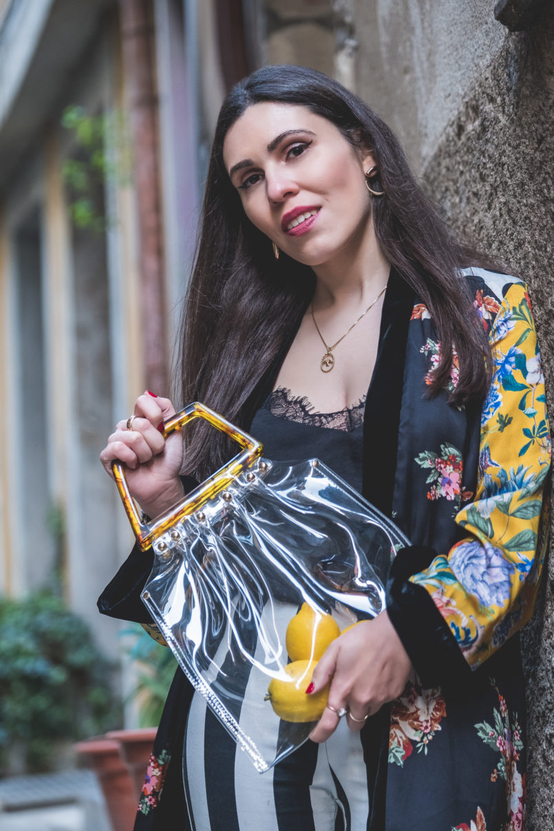 Le Fashionaire Are we living so fast that we are not living at all? black white stripes hm trousers silk lace stradivarius black top gold swallow necklace cinco silver transparent bag tortoise shopgirl la 8739 EN 805x1208