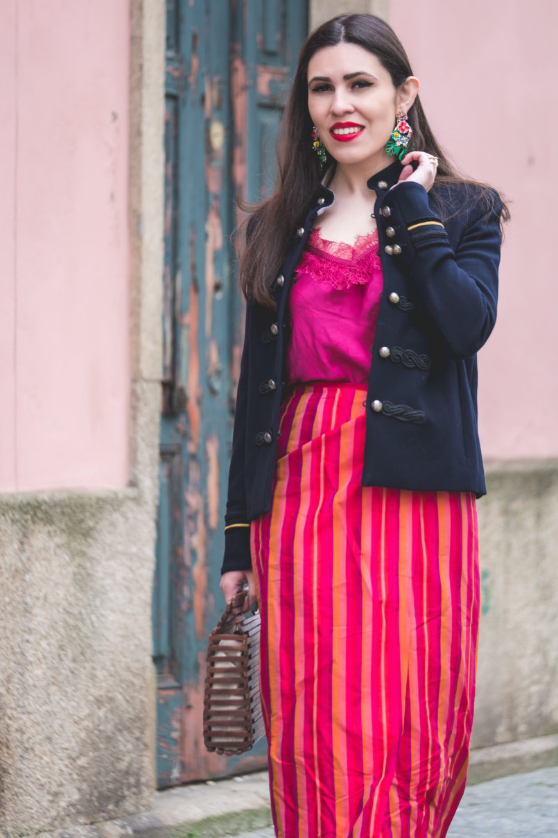 Le Fashionaire Sharing my favorite shop military dark blue mango jacket top purple silk massimo dutti silk stripes red pink skirt bold green tropical leaf zara earrings 9018 EN 805x1208