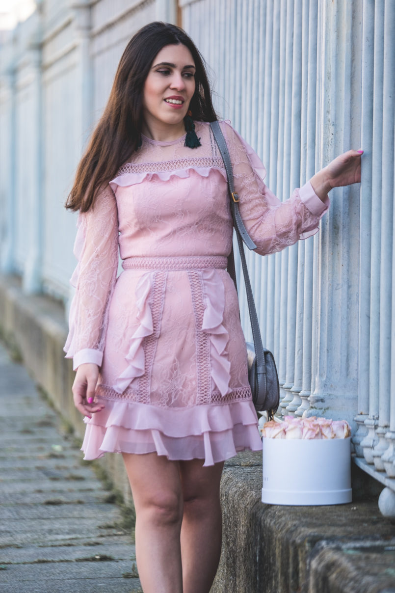 Le Fashionaire When i'm sad i buy flowers pale pink lace ruffles asos dress grey leather chloe mini marcie bag 0233 EN 805x1208
