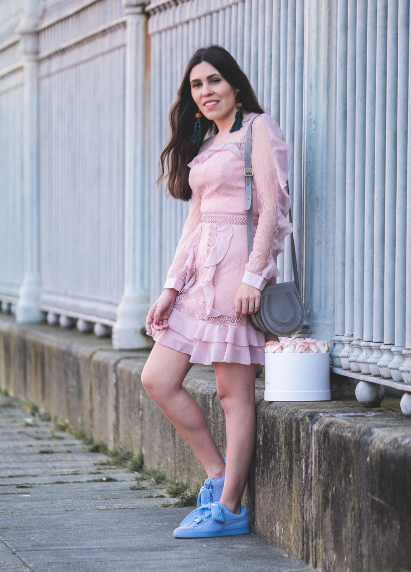 Le Fashionaire When i'm sad i buy flowers pale pink lace ruffles asos dress puma suede heart lavender velvet ribbons grey leather chloe mini marcie bag 0226 EN 805x1120