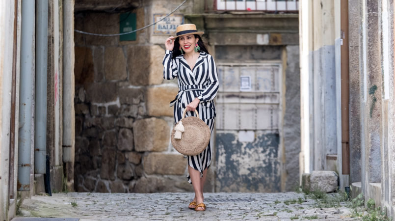 Le Fashionaire My favorite stripes dress is less than 25 euros stripes dark blue white maxi shein dress straw black ribbon stradivarius hat satin dark yellow slides green leaf flowers bold earrings zara 0554F EN 805x450