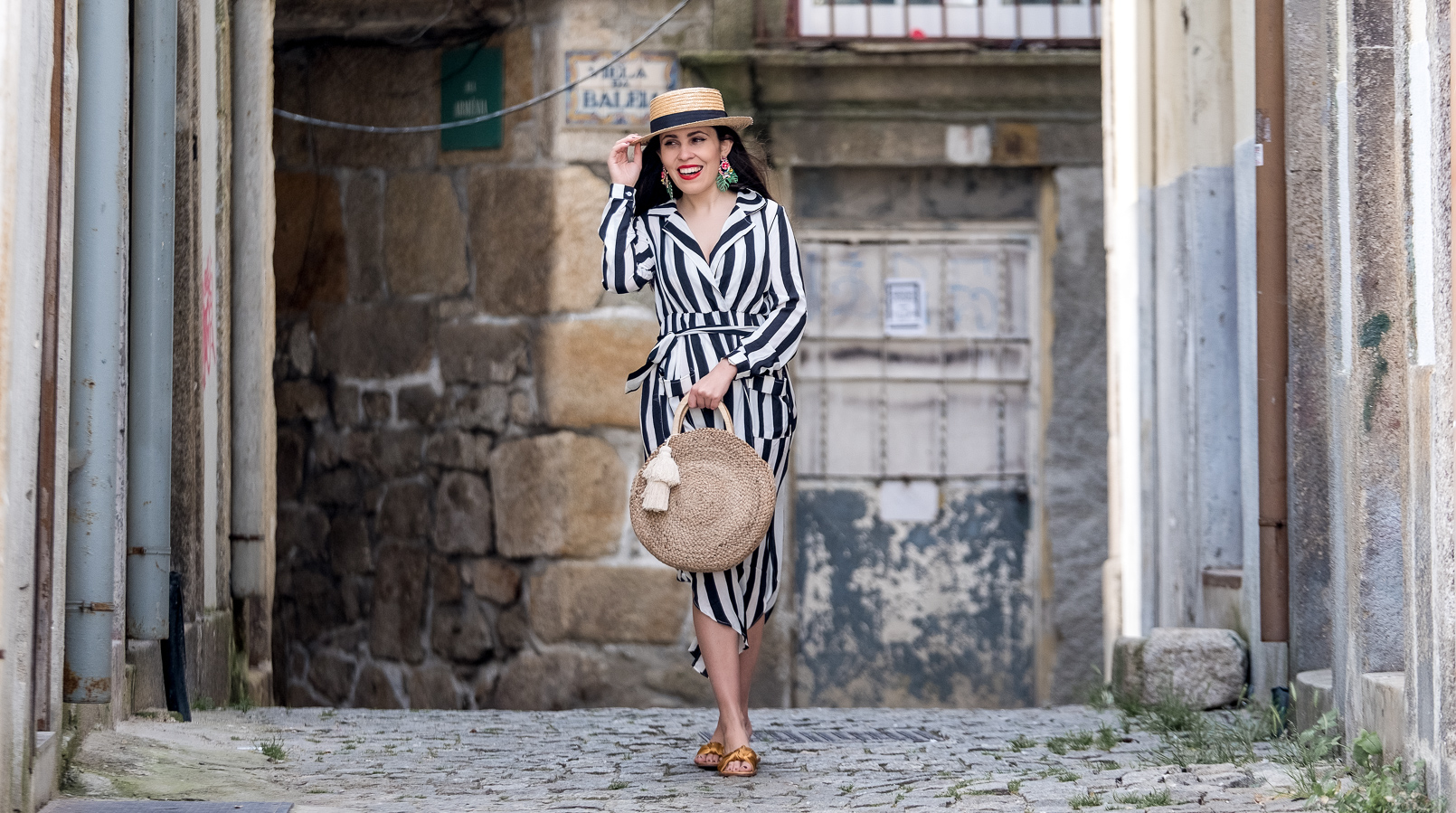 Le Fashionaire My favorite stripes dress is less than 25 euros stripes dark blue white maxi shein dress straw black ribbon stradivarius hat satin dark yellow slides green leaf flowers bold earrings zara 0554F EN