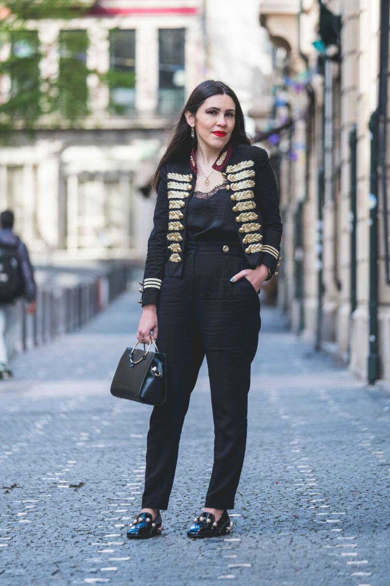 Le Fashionaire The chicest piece you'll have on your wardrobe viny black pearls shein shoes military gold embroidered black red minusey jacket satin black lace stradivarius top Gold hoop black zara bag 9315 EN 805x1208