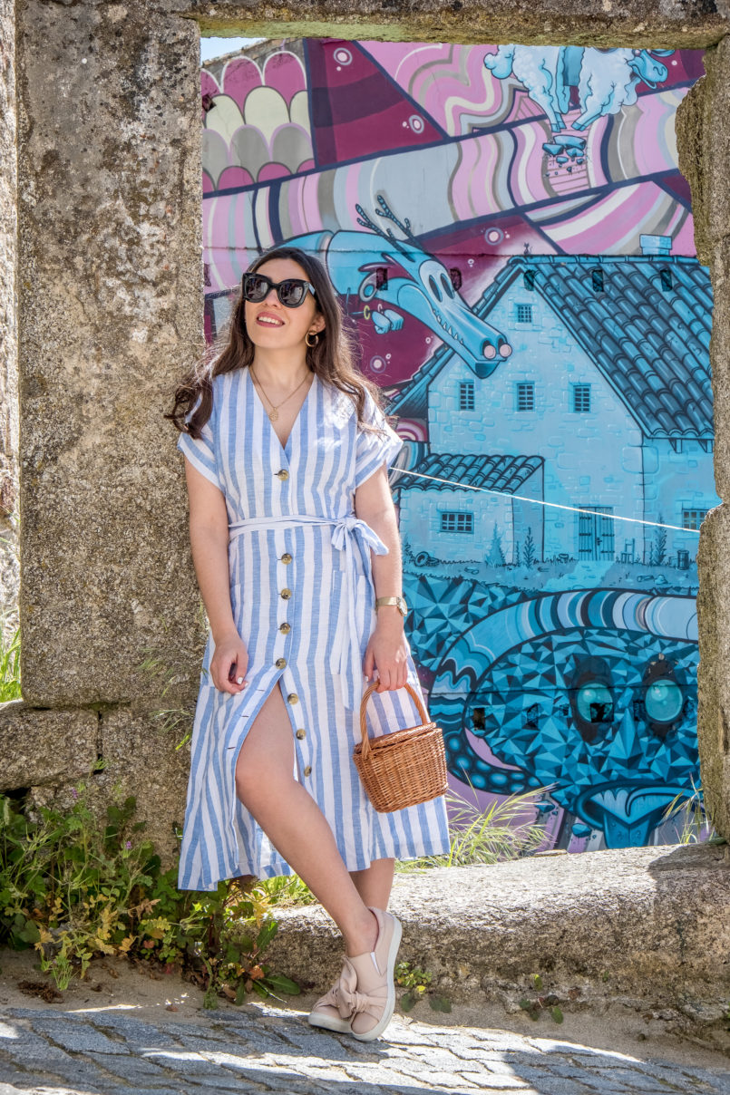 Le Fashionaire Street art at Covilhã white pale blue stripes mango linen dress straw bag la petite sardine black celine sunglasses cat eye street art covilha paintings 9684 EN 805x1208