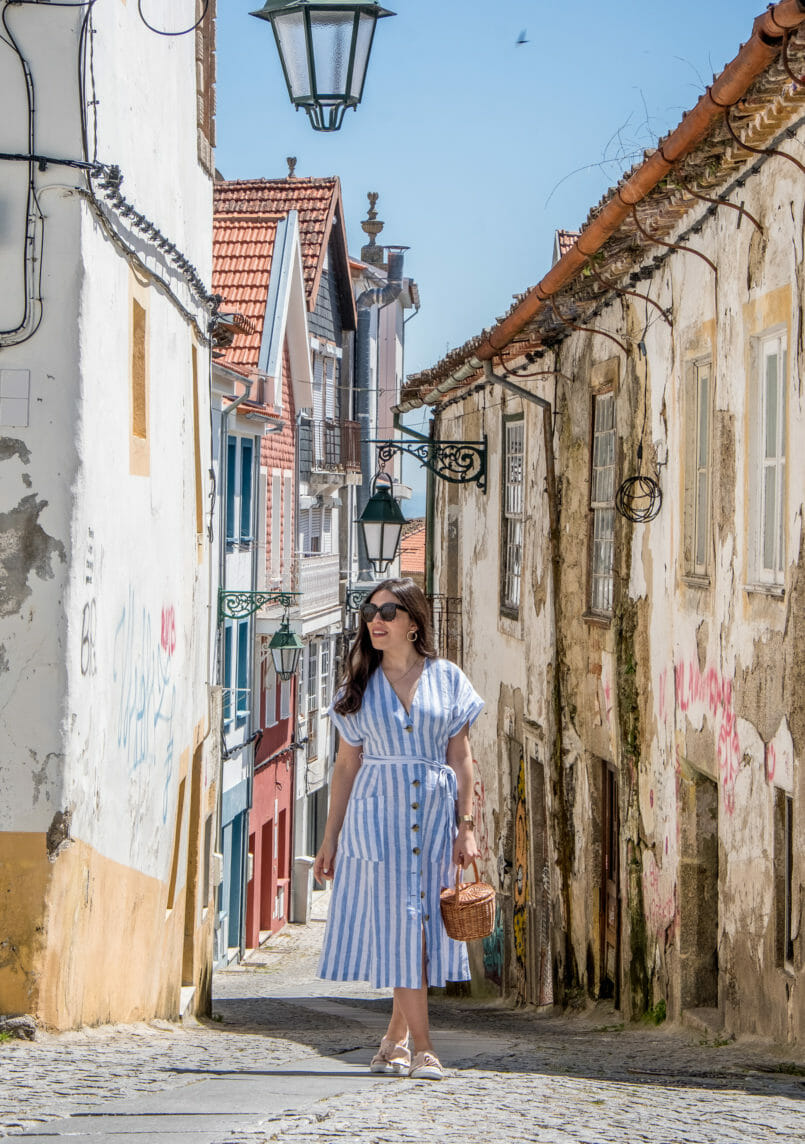 Le Fashionaire Street art at Covilhã white pale blue stripes mango linen dress straw bag la petite sardine black celine sunglasses cat eye street art covilha paintings 9695 EN 805x1144