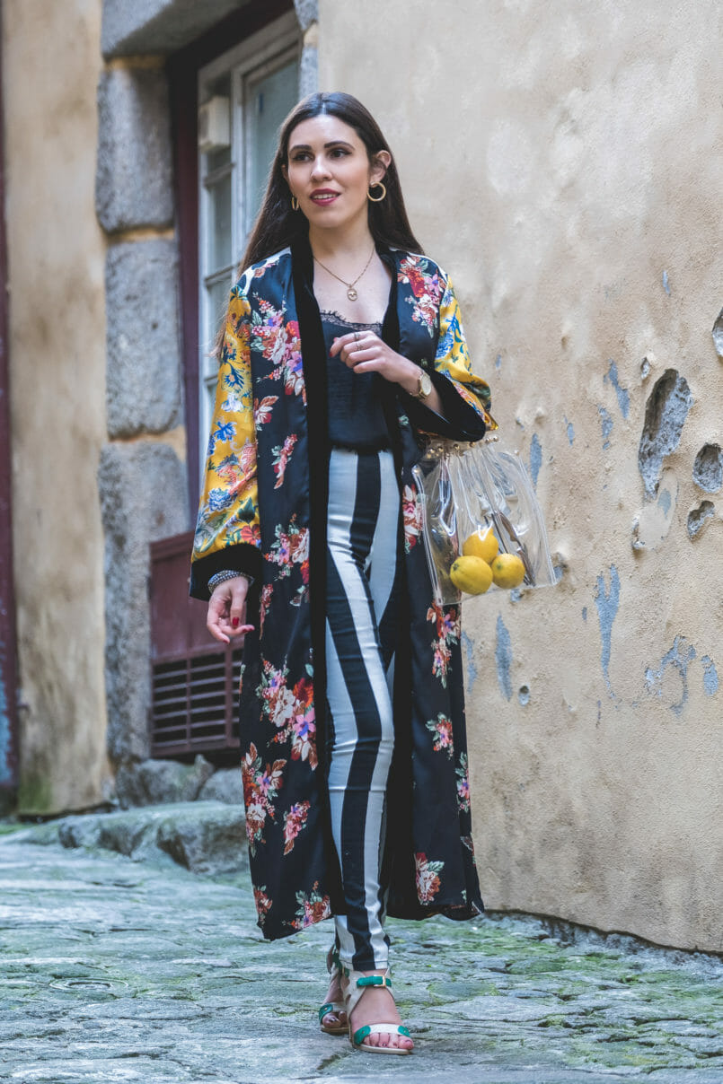 Le Fashionaire Are we living so fast that we are not living at all? yellow floral black velvet satin zara kimono black white stripes hm trousers nude mint high heel sandals transparent bag tortoise shopgirl la 8680 EN 805x1208