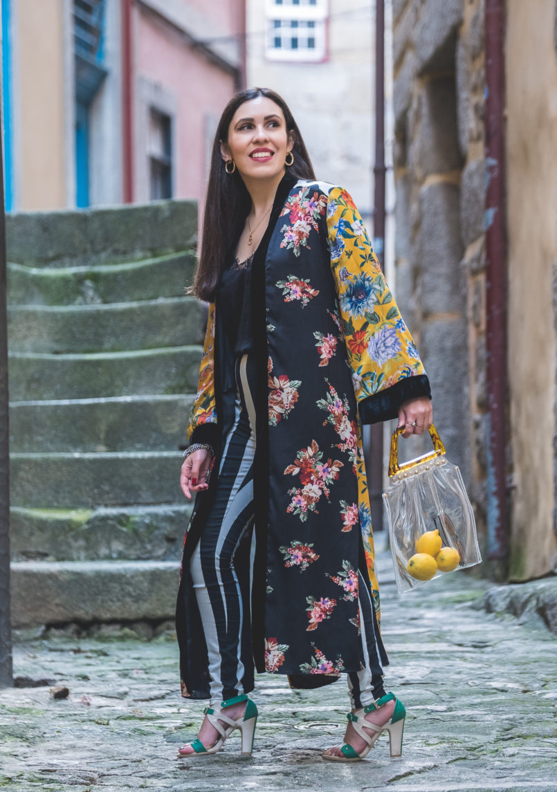 Le Fashionaire Are we living so fast that we are not living at all? yellow floral black velvet satin zara kimono black white stripes hm trousers nude mint high heel sandals transparent bag tortoise shopgirl la 8702 EN 805x1145