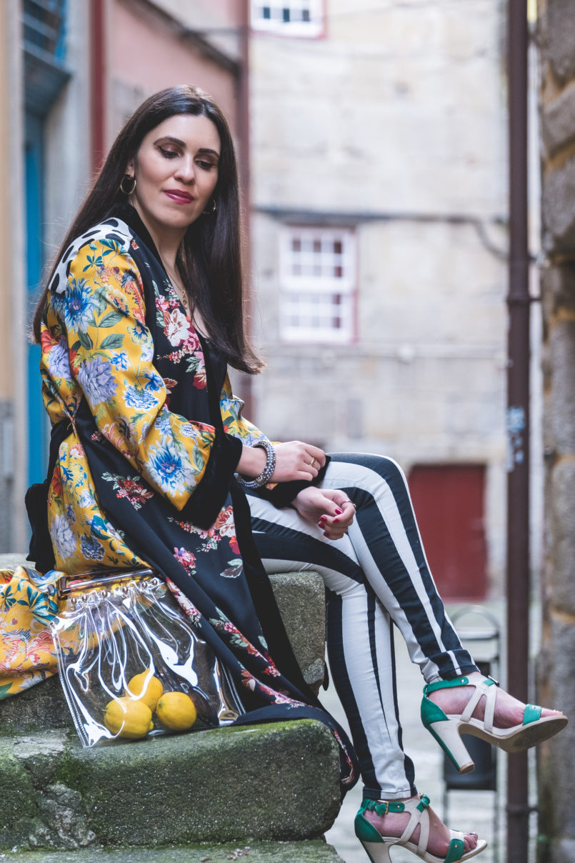 Le Fashionaire Are we living so fast that we are not living at all? yellow floral black velvet satin zara kimono black white stripes hm trousers nude mint high heel sandals transparent bag tortoise shopgirl la 8773 EN 805x1208