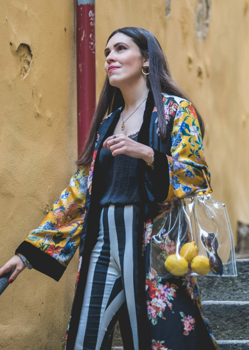 Le Fashionaire Are we living so fast that we are not living at all? yellow floral black velvet satin zara kimono black white stripes hm trousers transparent bag tortoise shopgirl la 8629 EN 805x1131