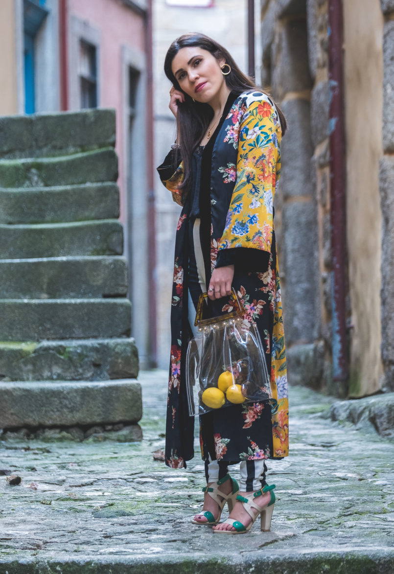 Le Fashionaire Are we living so fast that we are not living at all? yellow floral black velvet satin zara kimono nude mint high heel sandals transparent bag tortoise shopgirl la 8708 EN 805x1173