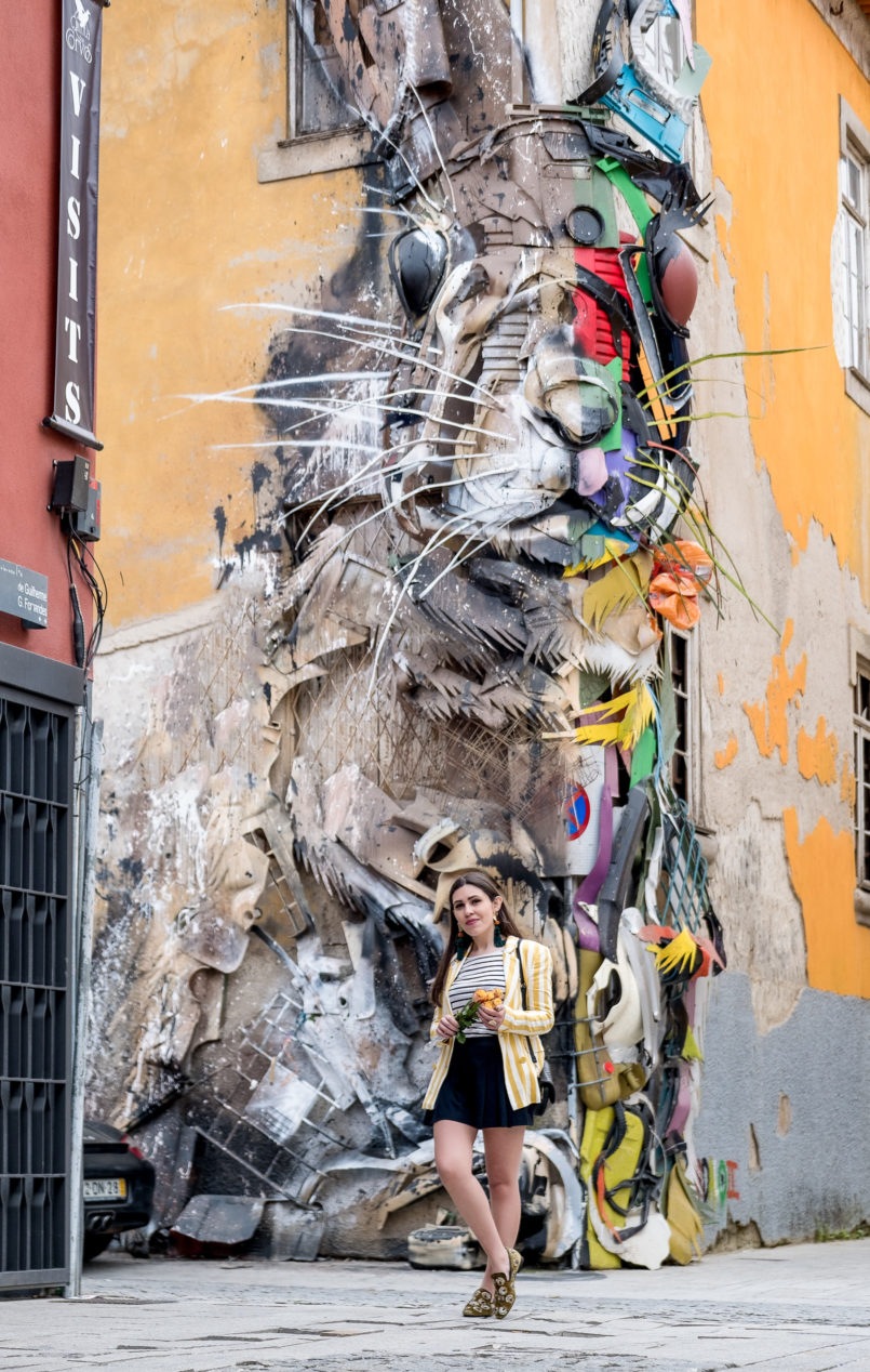 Le Fashionaire You need to know this street art rabbit yellow white vertical stripes bershka blazer green olive sequins slippers shoes mango gaia rabbit street art bordalo II 9156 EN 805x1268
