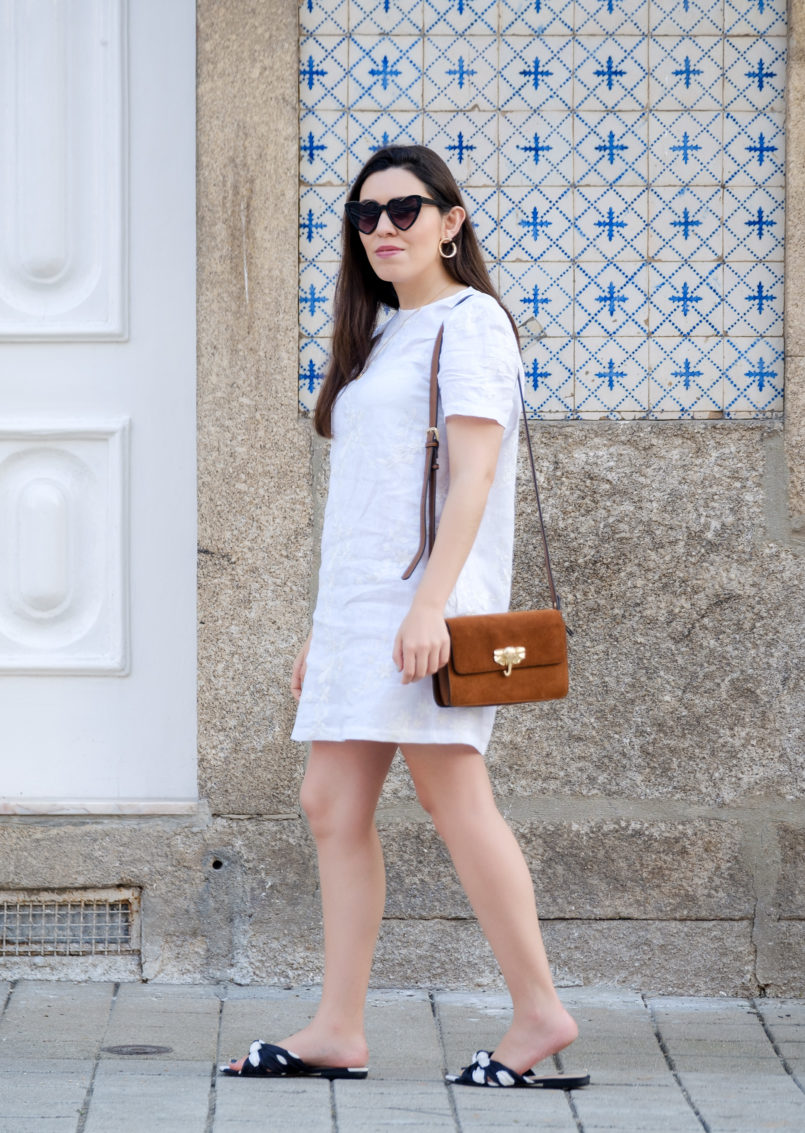 Le Fashionaire Hey you sales! white embroidered linen zara dress satin polka dots slides gold hoop earrings heart mango sunglasses 1891 EN 805x1133