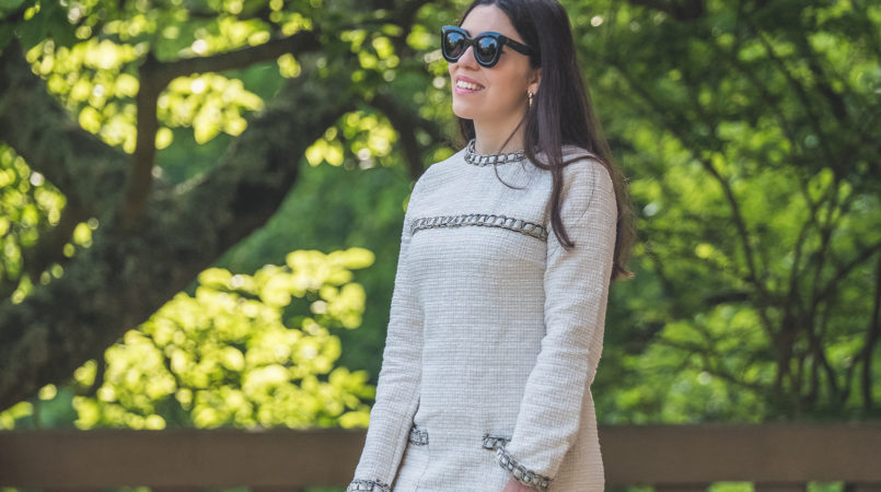 Le Fashionaire Why you need a tweed dress in your closet (this one is less than 30€) white tweed shein dress black celine cat eye sunglasses 0623F EN 805x450