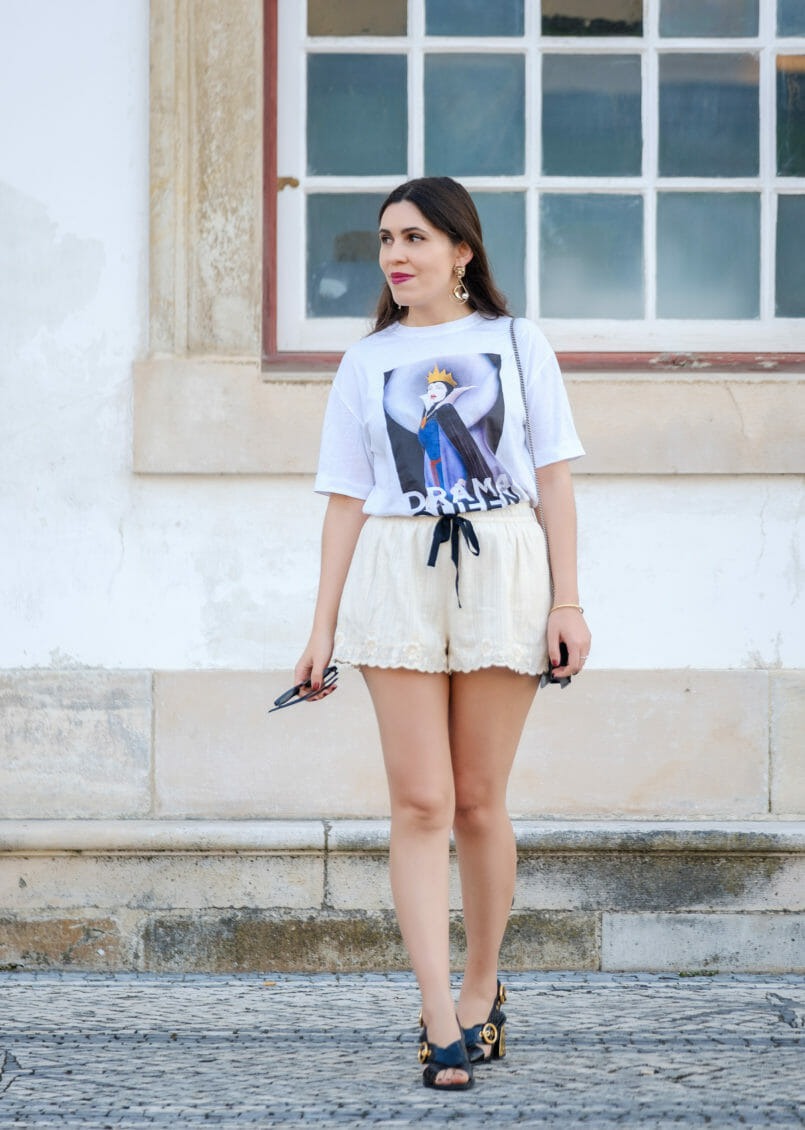 Le Fashionaire Drama Queen, me? t shirt evil queen drama queen t shirt white embroidered zara shorts black leather gold heels uterque sandals gold lion bold mango earrings 2181 EN 805x1130
