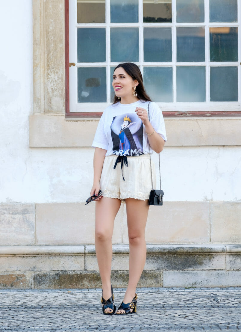 Le Fashionaire Drama Queen, me? t shirt evil queen drama queen t shirt white embroidered zara shorts black leather gold heels uterque sandals gold lion bold mango earrings 2184 EN 805x1108