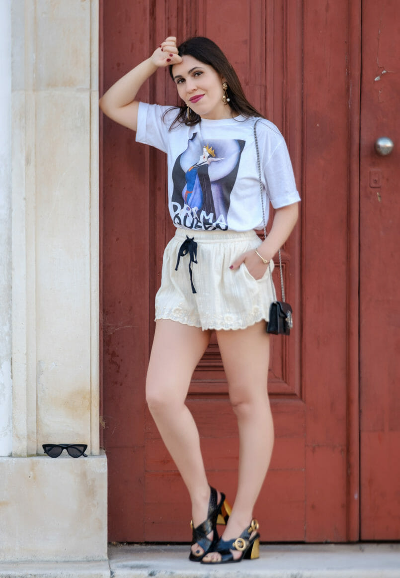 Le Fashionaire Drama Queen, me? t shirt evil queen drama queen t shirt white embroidered zara shorts black leather gold heels uterque sandals gold lion bold mango earrings 2233 EN 805x1162