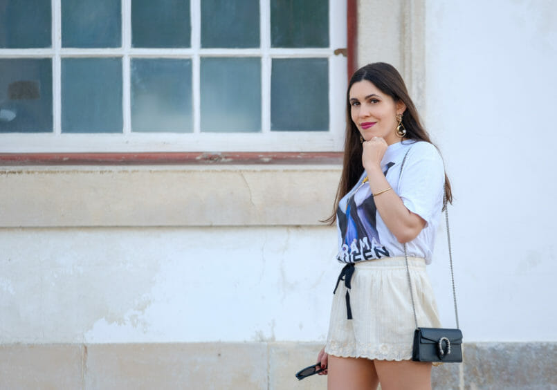 Le Fashionaire Drama Queen, me? t shirt evil queen drama queen t shirt white embroidered zara shorts mini dionysus gucci leather black bag gold lion bold mango earrings 2188 EN 805x564